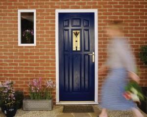 Composite Door Blue With Gold Furniture